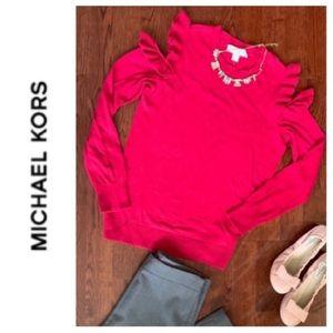 MICHAEL KORS Cold-Shoulder Ruffle Knit Sweater